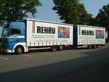 This lorry was covered with a tarpaulin for Rehau